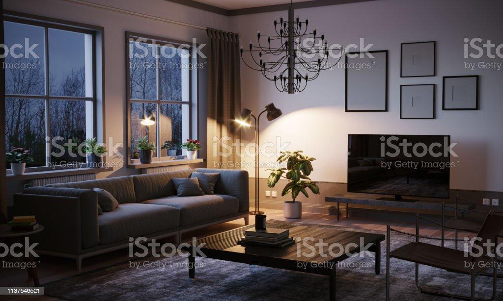 Scandinavian style designed living room interior scene in the evening.
