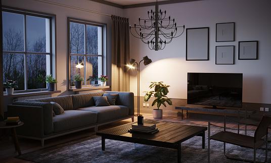 Scandinavian style designed living room interior scene in the evening. ( 3d render )