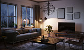 Scandinavian style designed living room interior scene in the evening. ( 3d render )
