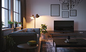 Scandinavian style designed living room interior scene close-up in the evening. ( 3d render )