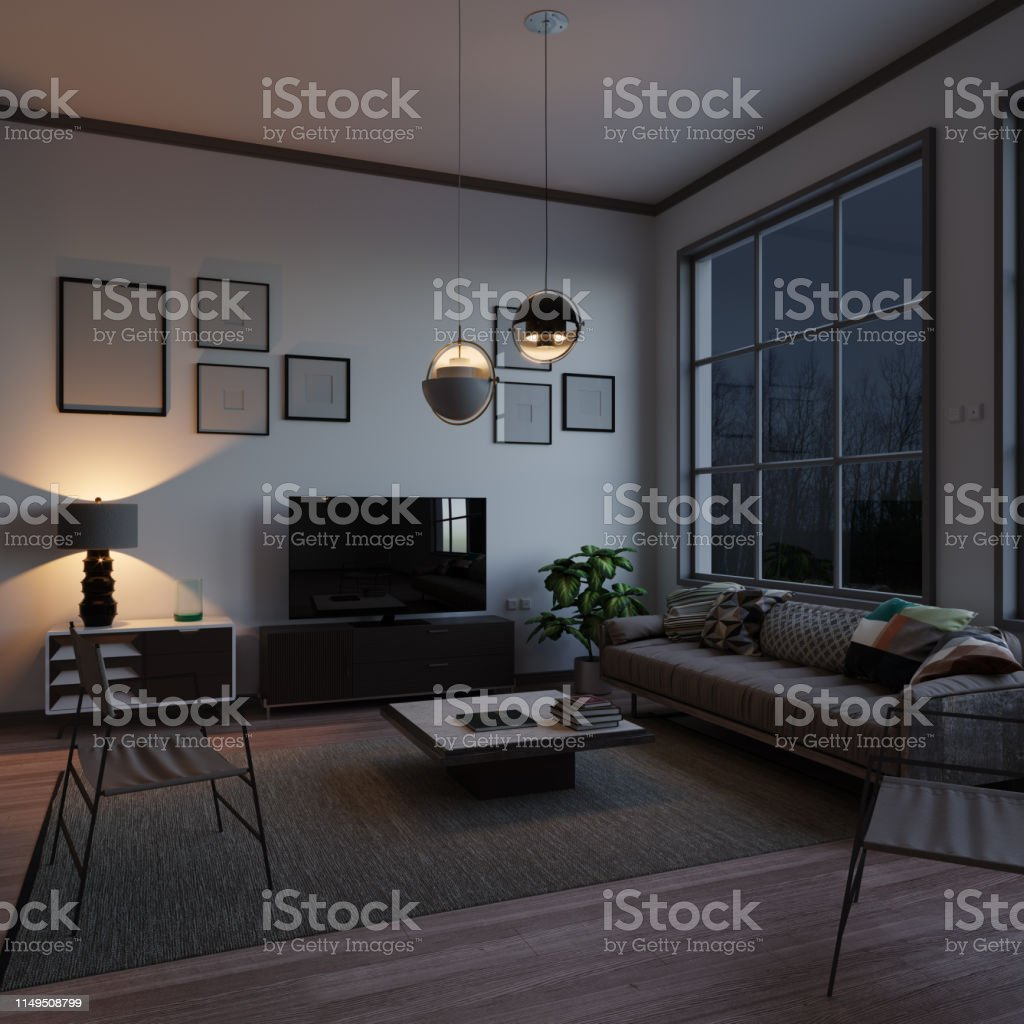 Scandinavian style and minimalist designed living room interior scene...