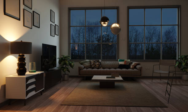 Scandinavian Style Living Room In The Evening stock photo