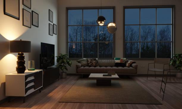夕方のスカンジナビアスタイルのリビングルーム - ソファ 無人 ストックフォトと画像