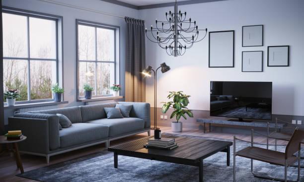 skandinavischer stil wohnzimmer interieur - luxuriöse inneneinrichtung stock-fotos und bilder
