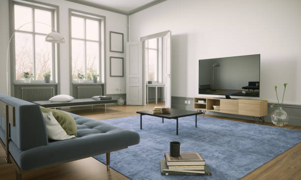 Scandinavian Style Living Room Interior stock photo