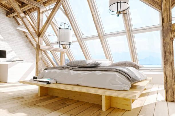 Skandinavischen Stil Loft Schlafzimmer Innenraum – Foto