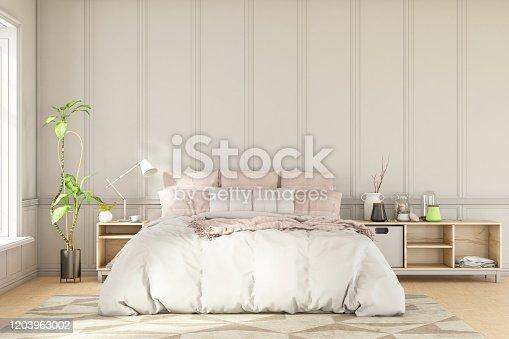 Scandinavian Style Loft Empty Bedroom Interior. 3d Render