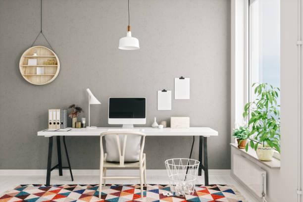 interior moderno do escritório home do estilo escandinavo - escrivaninha - fotografias e filmes do acervo
