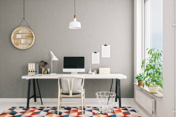 scandinavian style modern home office interior - estudio imagens e fotografias de stock