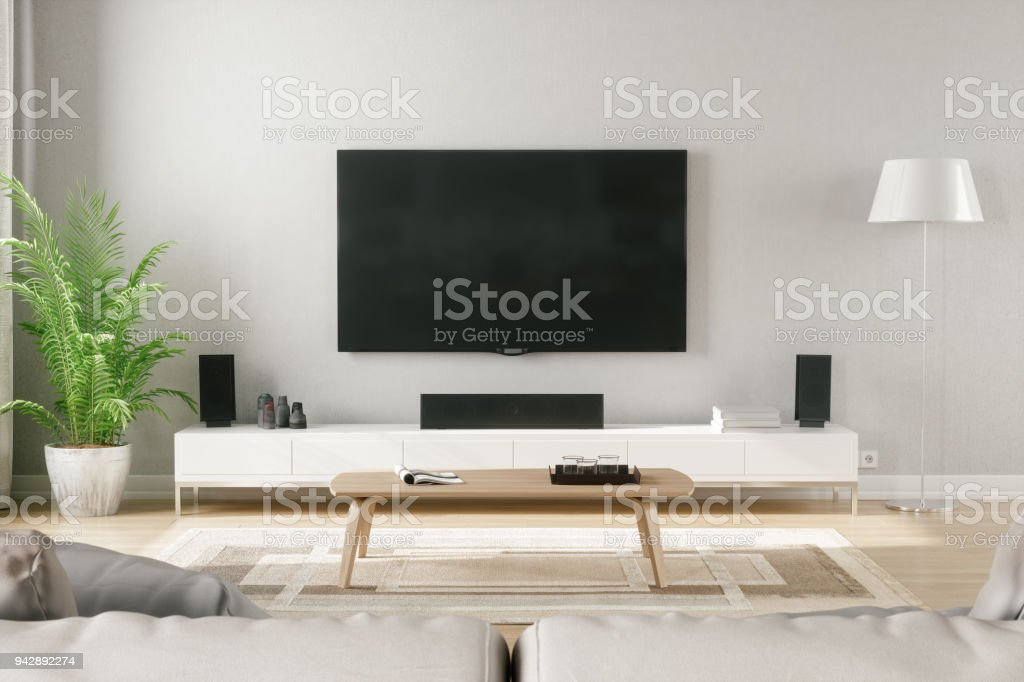 Estilo escandinavo moderno salón con centro de entretenimiento foto de stock libre de derechos