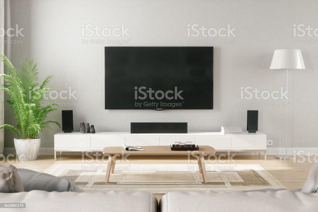 Skandinavischen Stil Modern Living Room mit Entertainment-Center – Foto