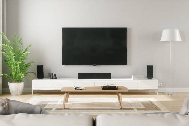 skandinavischen stil modern living room mit entertainment-center - fernseher and der wand stock-fotos und bilder