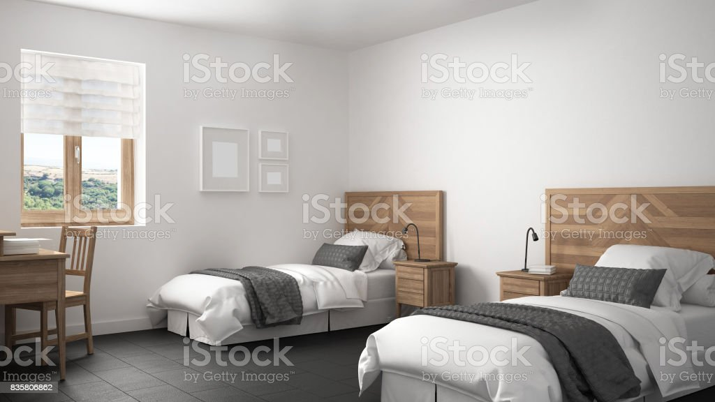 Scandinavian Vintage Bedroom With Two Beds Old Style Interior Design Stock Photo Download Image Now Istock
