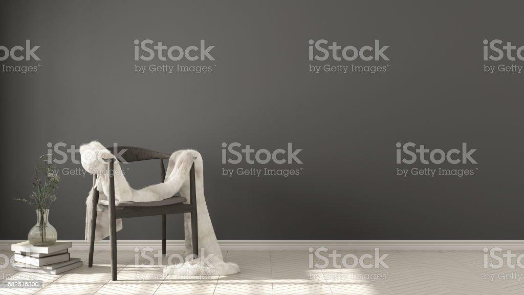 Scandinavian white and gray background, wooden armchair with fur on herringbone natural parquet flooring, interior design Lizenzfreies stock-foto