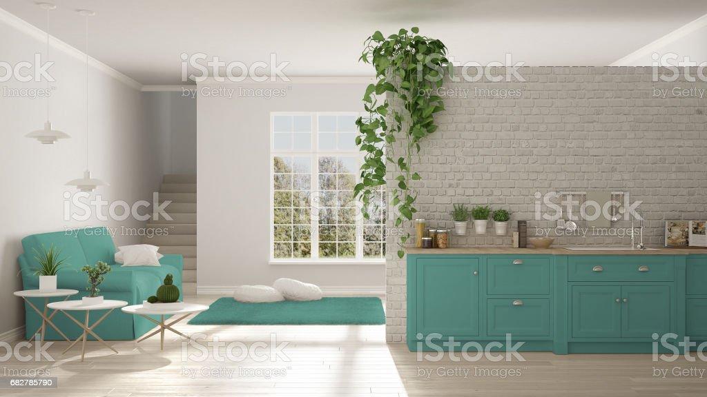 Escandinava Minimalista Branca E Turquesa, Vivendo Com Cozinha, Espaço  Aberto, Um Apartamento De