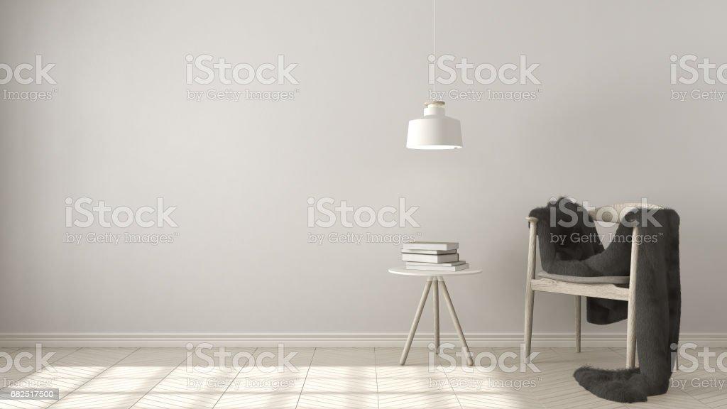 Scandinavian white background, with table and pendant lamp on herringbone natural parquet flooring, interior design Стоковые фото Стоковая фотография