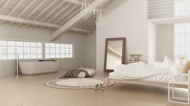 scandinavian white bedroom, loft interior design, minimalistic b - badewannenkissen stock-fotos und bilder