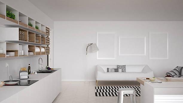 Scandinavian white kitchen, minimalistic interior design - Photo