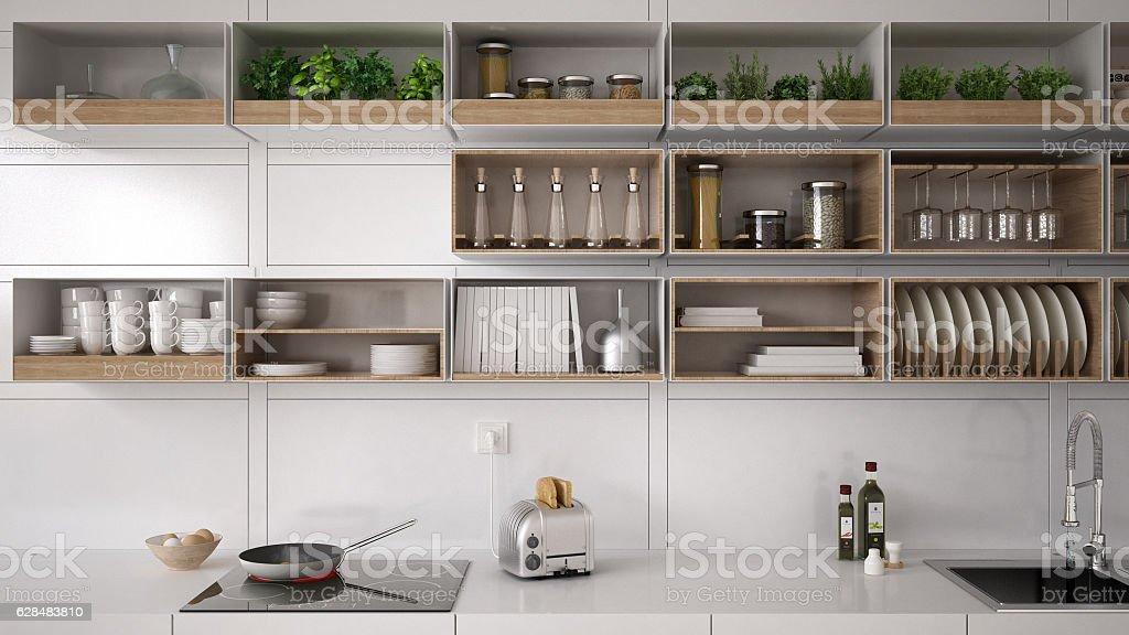 Scandinavian white kitchen, shelving system, minimalistic interi stock photo