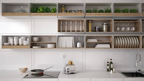 scandinavian white kitchen, shelving system, minimalistic interi - 現代 風格 個照片及圖片檔