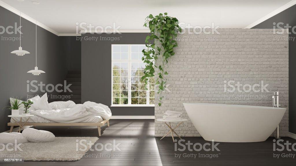 Scandinavian White Minimalist Bathroom And Bedroom, Open Space, One Room  Apartment, Modern Interior