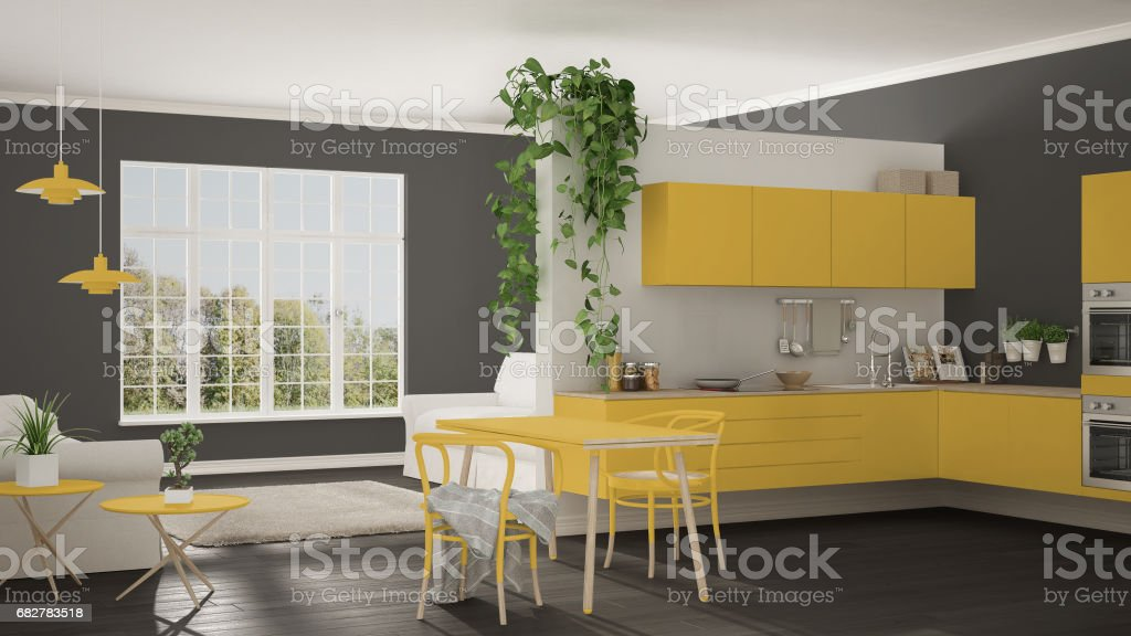 Scandinavian Yellow Minimalist Living With Kitchen, Open Space, One Room  Apartment, Modern Interior Design   Stock Image .