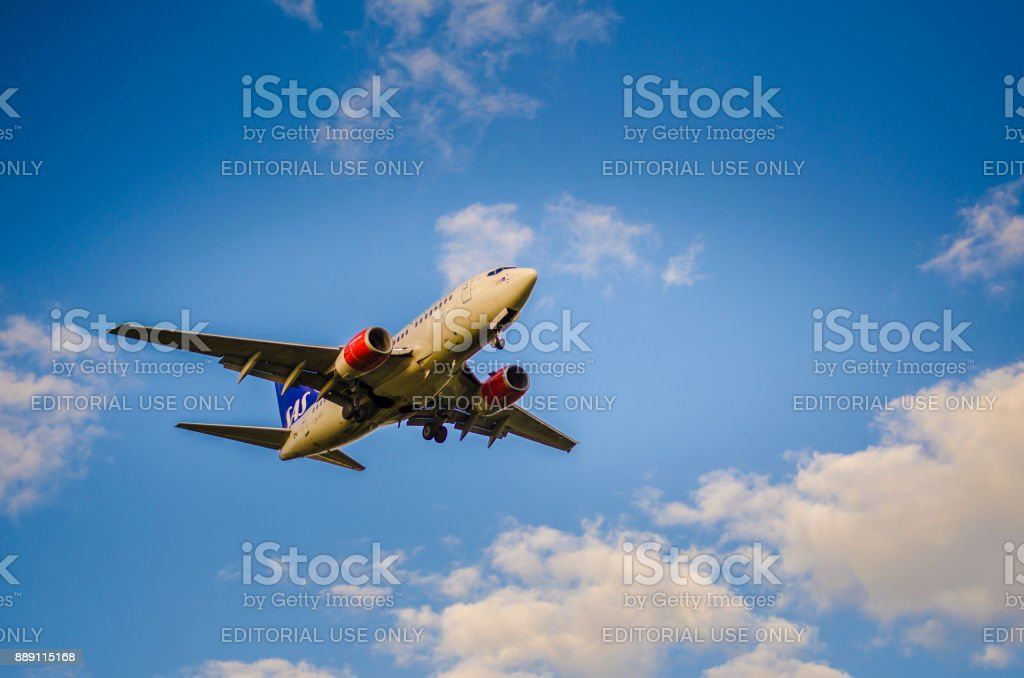 Scandinavias Airlines Airbus A340 - 300 approaching Helsinki -  Vantaa airport stock photo