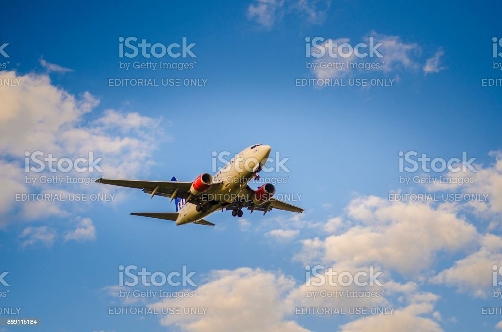 Scandinavias Airlines Airbus A340 - 300 arriving Helsinki -  Vantaa airport stock photo