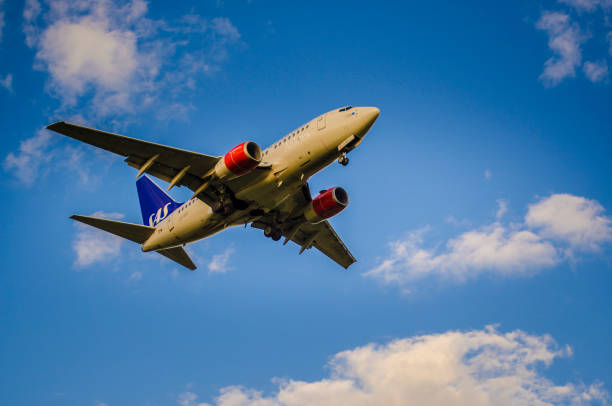 Scandinavias Airlines Airbus A340 - 300 landing in Helsinki airport stock photo