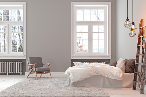 Scandinavin loft gray empty bedroom interior with armchair, bed and lamp. 3d render illustration mock up.
