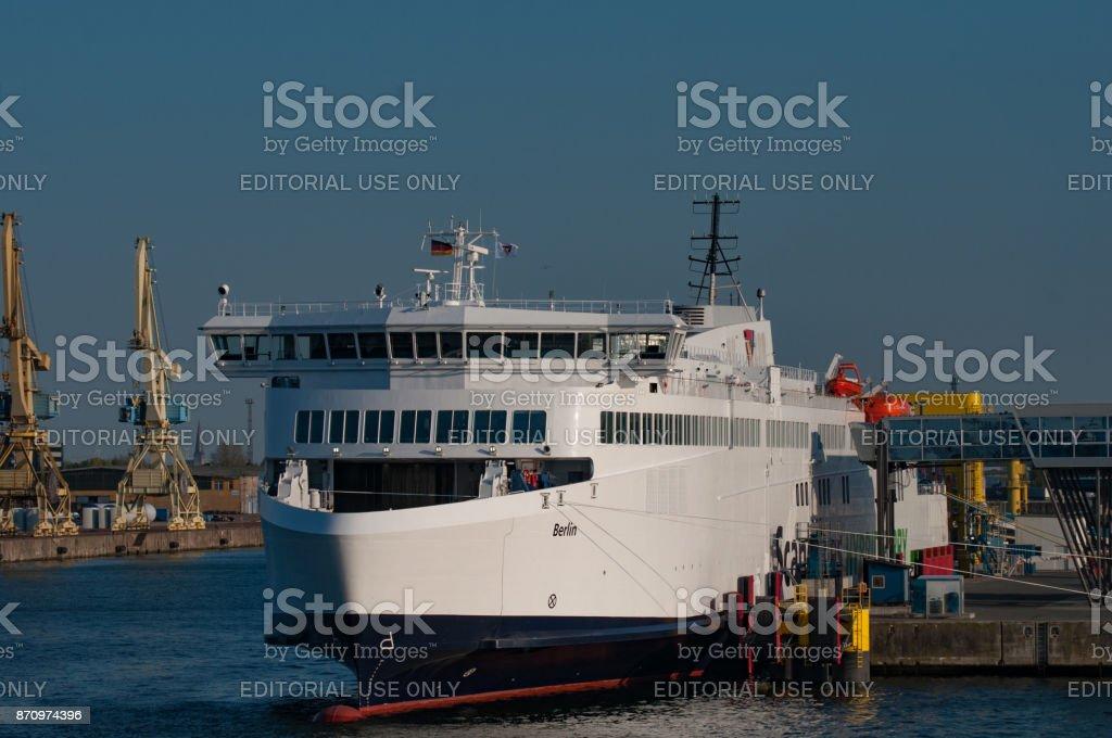 Scandlines ferry Berlin in port of Rostock stock photo