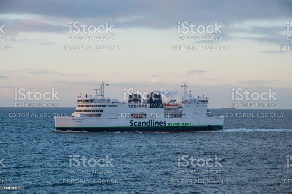 Scandlines ferry Deutschland sailing in Fehmarn Belt stock photo