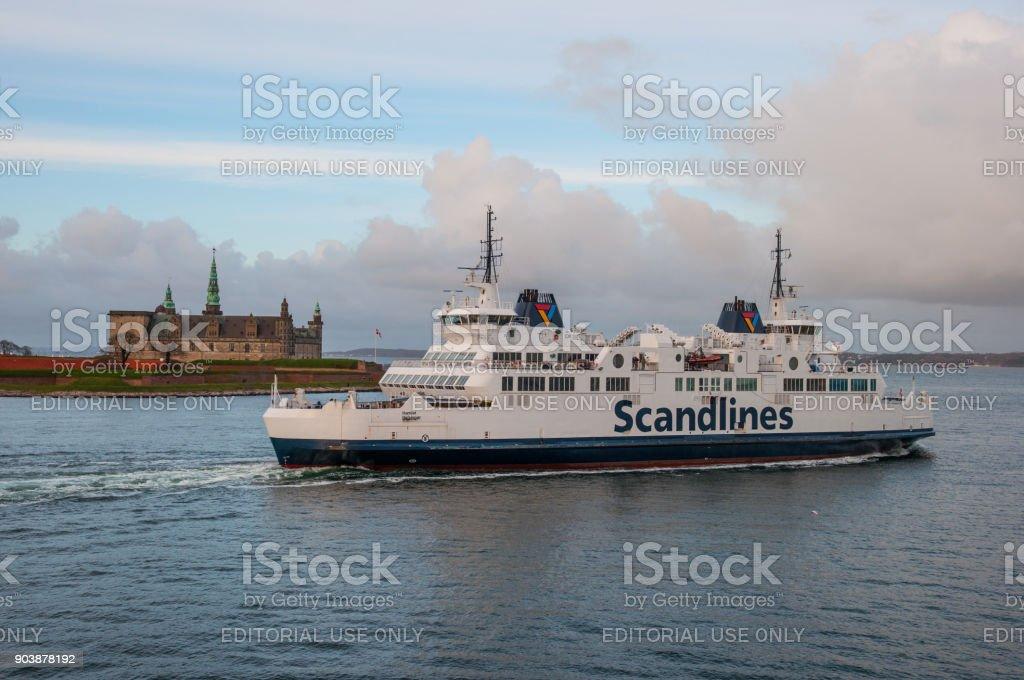 Scandlines ferry Hamlet sailing pass Kronborg castle stock photo