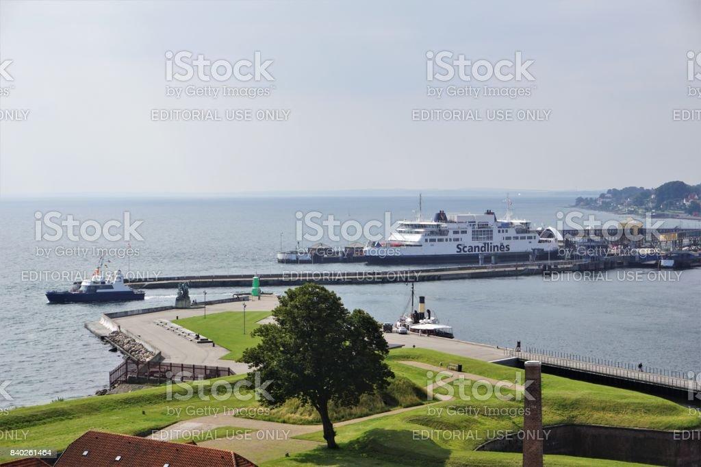 Scandlines Ferry in port stock photo