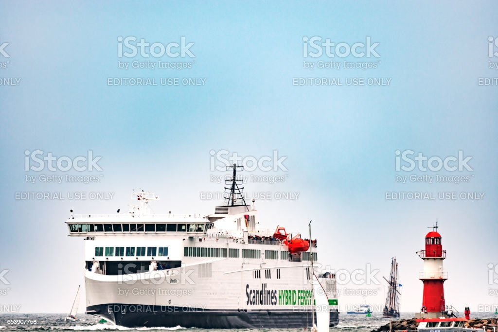Rostock, Germany - August 2016: Scandlines hybrid ferry in the harbour of Warnemuende stock photo
