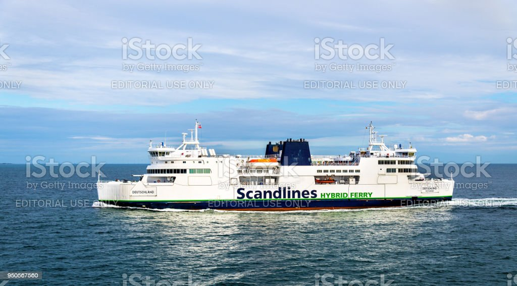Scandlines Hybrid Ferry on route Rodby - Puttgarden, between Denmark and Germany stock photo