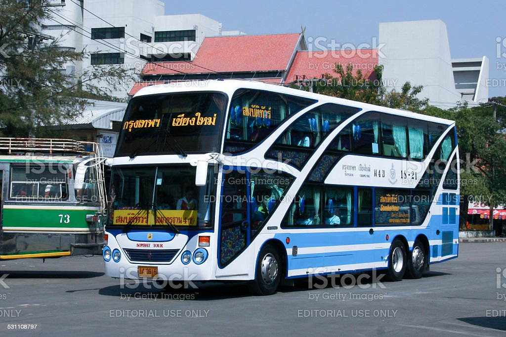 Scania Bus No.18-21 of Sombattour company bus stock photo