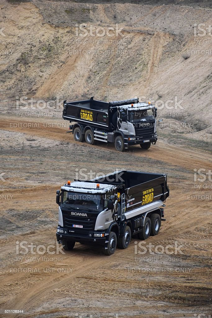 Scania trucks in motion stock photo