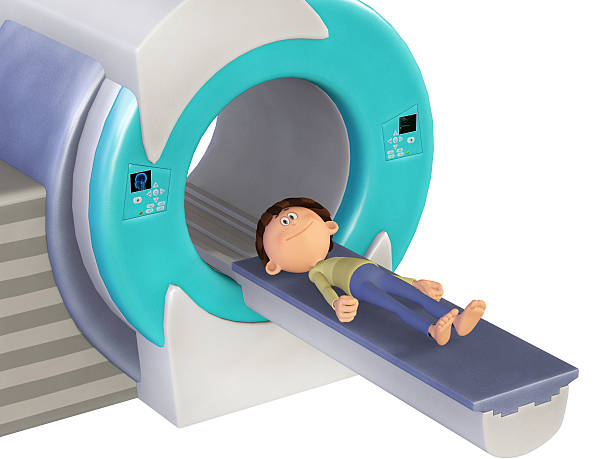 MRI Scanm Doctor and little boy, 3d stock photo