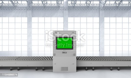 3d rendering scanner machine with empty monitor and conveyor belt