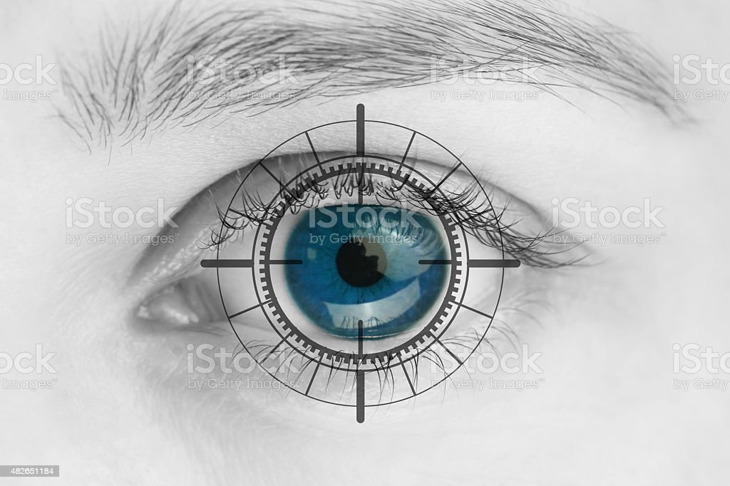 Scanner on blue human eye stock photo