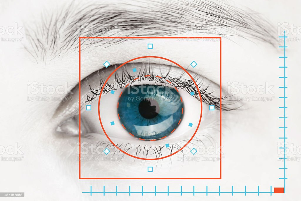 Scanner on blue human eye stock photo