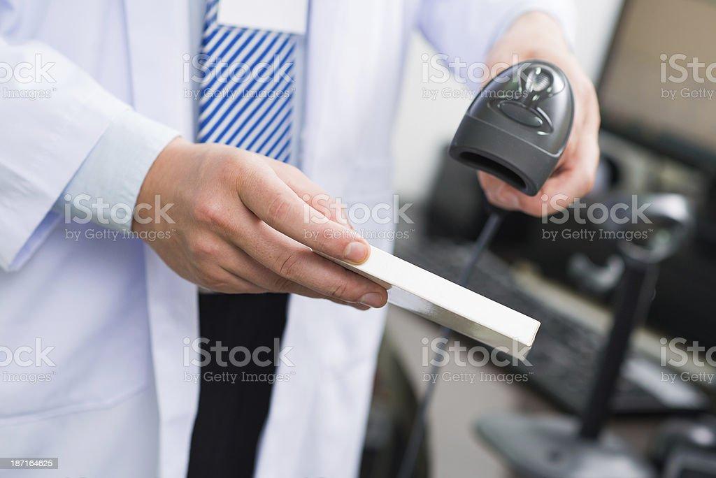 Scanning bar code stock photo