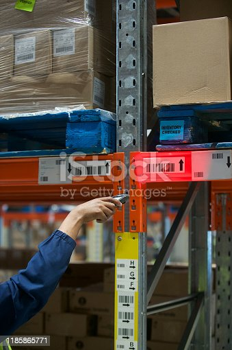 92884259 istock photo Scanning barcodes with handheld device in industrial warehouse 1185865771