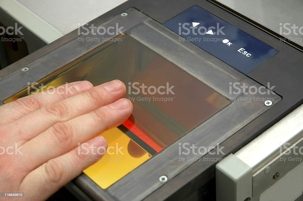 scanning fingerprints stock photo