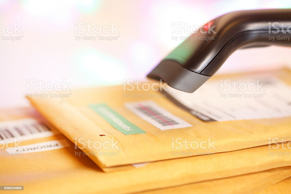 Scanning Mail Barcode stock photo