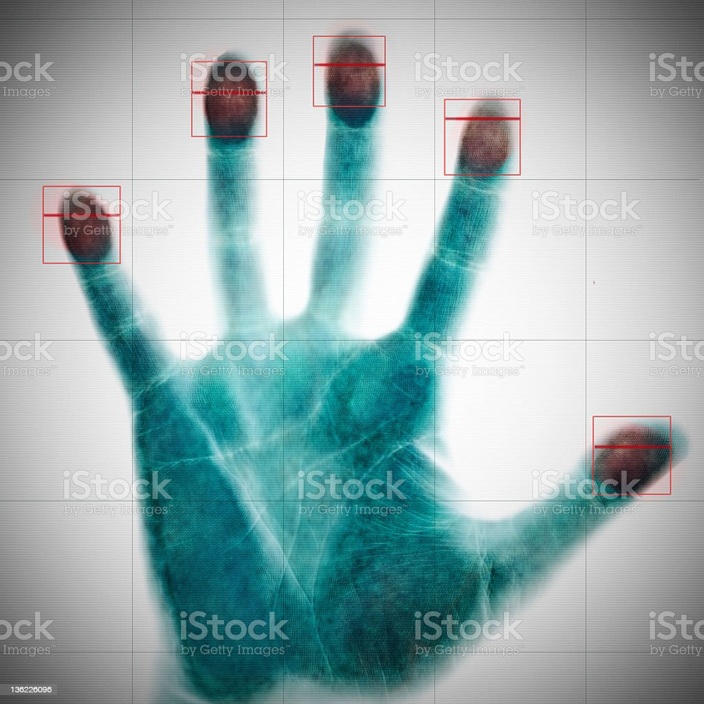 scanning of fingerprints stock photo