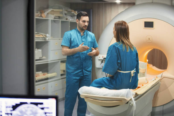 MRI scanning procedure. stock photo