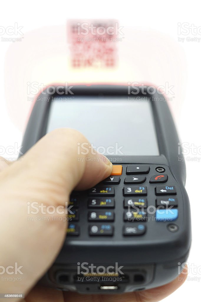 scanning QR code .label on the carton with laser isolated stock photo