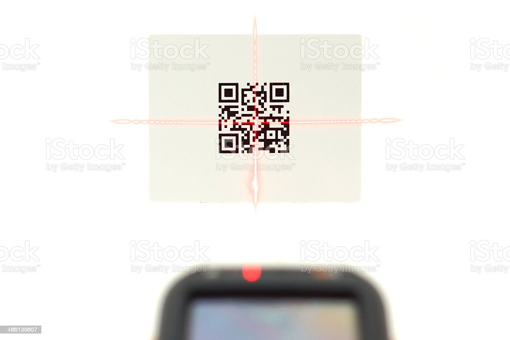 scanning quick response code .label  with laser isolated stock photo
